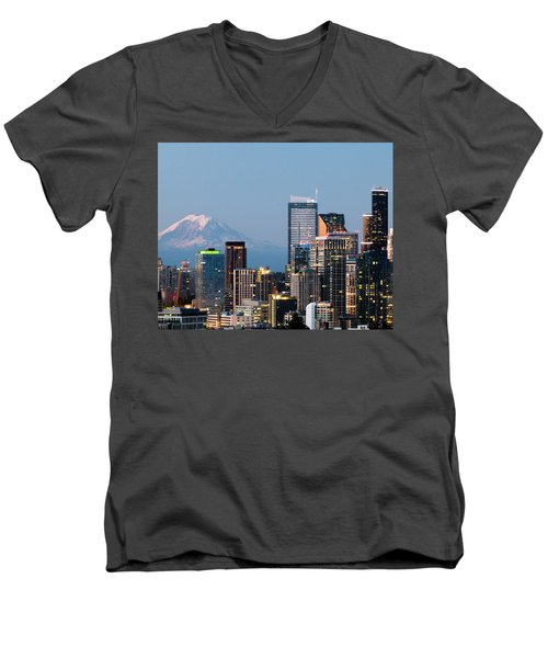 Seattle At First Light II Men's V-Neck T-Shirt by E Faithe Lester