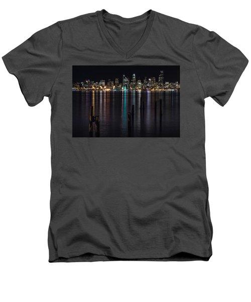 Seattle At Night Men's V-Neck T-Shirt