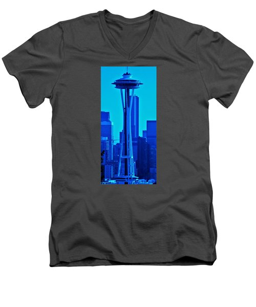 Seattle Blue Men's V-Neck T-Shirt by Martin Cline