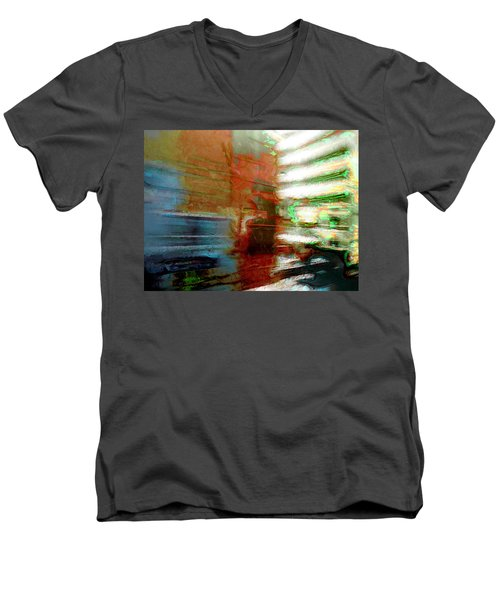 Men's V-Neck T-Shirt featuring the photograph Seattle By Train by Lori Seaman