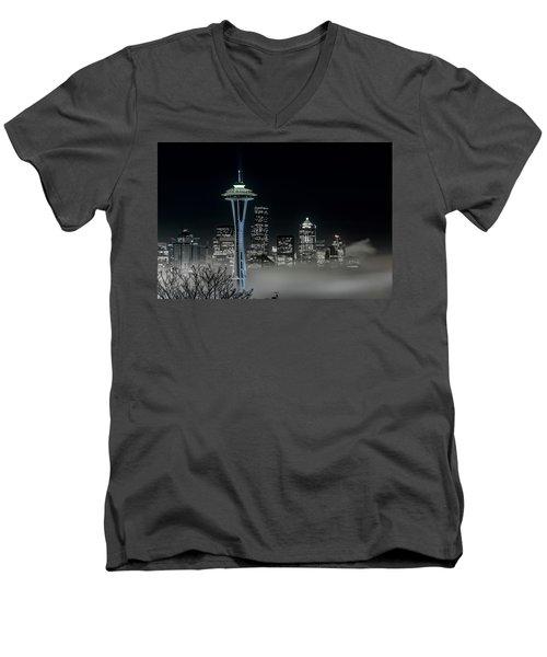 Seattle Foggy Night Lights In Bw Men's V-Neck T-Shirt