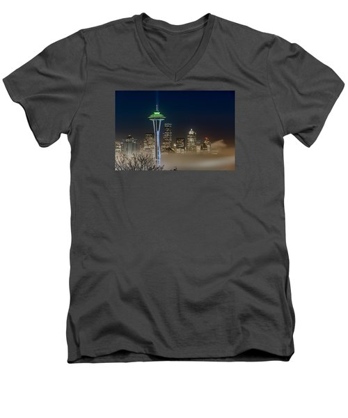 Seattle Foggy Night Lights Men's V-Neck T-Shirt by Ken Stanback