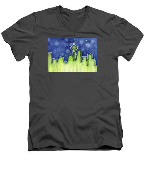 Seattle Night Sky Watercolor Men's V-Neck T-Shirt