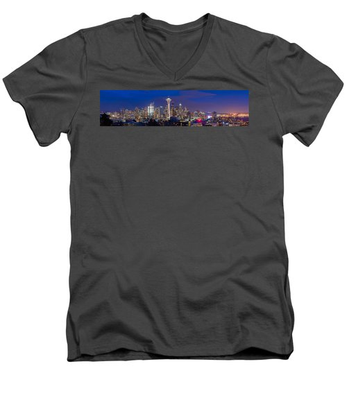 Seattle Night View Men's V-Neck T-Shirt by Ken Stanback