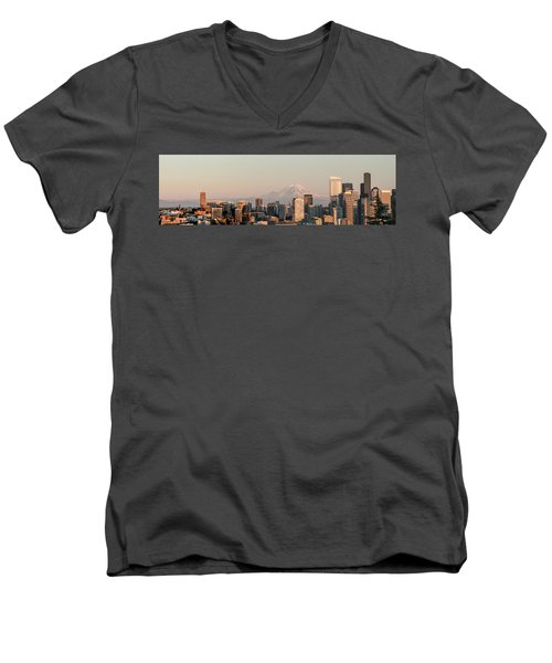 Seattle Panorama At Dusk Men's V-Neck T-Shirt by E Faithe Lester