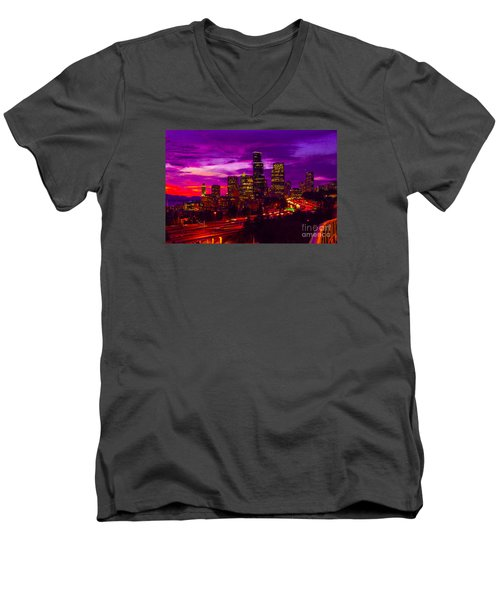 Seattle Shades Of Purple Men's V-Neck T-Shirt