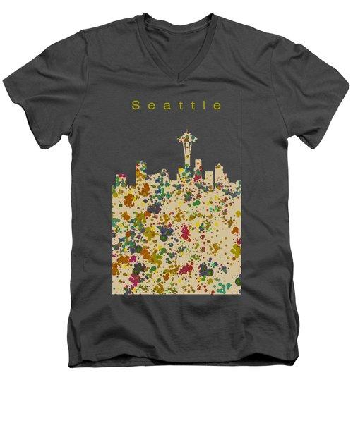 Seattle Skyline 1 Men's V-Neck T-Shirt