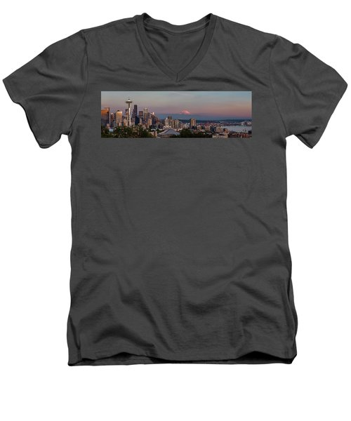 Men's V-Neck T-Shirt featuring the photograph Seattle Skyline And Mt. Rainier Panoramic Hd by Adam Romanowicz