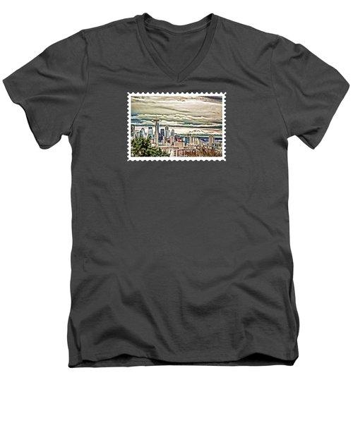 Seattle Skyline In Fog And Rain Men's V-Neck T-Shirt by Elaine Plesser