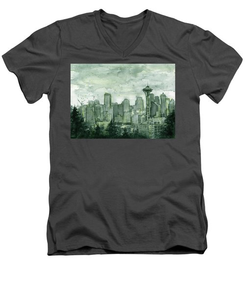 Seattle Skyline Watercolor Space Needle Men's V-Neck T-Shirt by Olga Shvartsur
