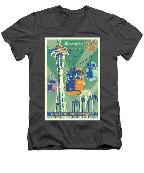 Seattle Space Needle 1962 - Alternate Men's V-Neck T-Shirt by Jim Zahniser