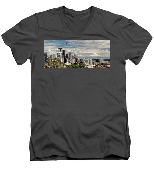 Seattle Space Needle With Mt. Rainier Men's V-Neck T-Shirt by Tony Locke