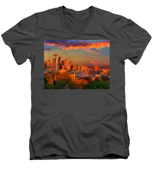 Seattle Sunset 1 Men's V-Neck T-Shirt by Caito Junqueira