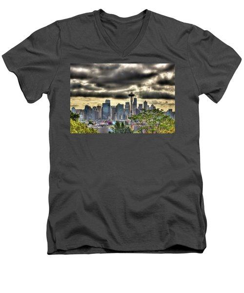 Seattle Washington Men's V-Neck T-Shirt by David Patterson