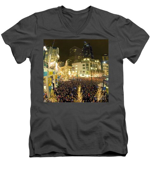 Men's V-Neck T-Shirt featuring the photograph Seattle Westlake Tree Lighting by Peter Simmons