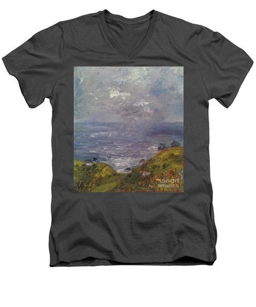 Seaview Men's V-Neck T-Shirt by Genevieve Brown