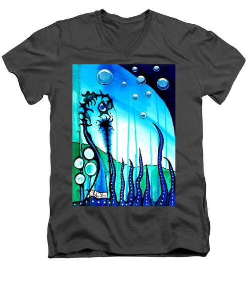 Men's V-Neck T-Shirt featuring the painting Seaweed - Art By Dora Hathazi Mendes by Dora Hathazi Mendes