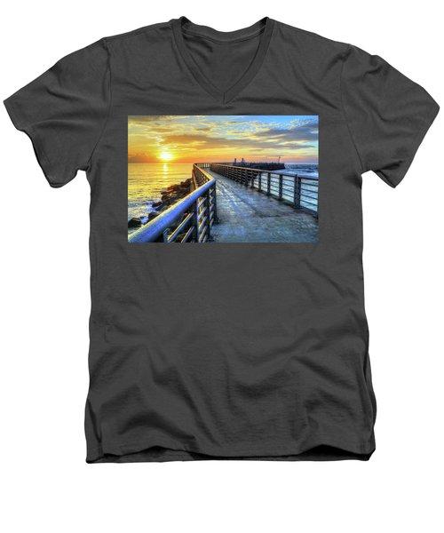 Sebastian Inlet Pier Along Melbourne Beach Men's V-Neck T-Shirt
