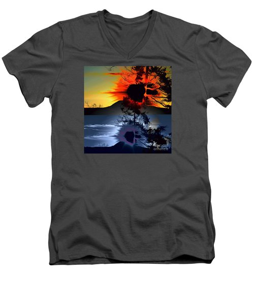 Sechelt Tree Sun And Moon Men's V-Neck T-Shirt