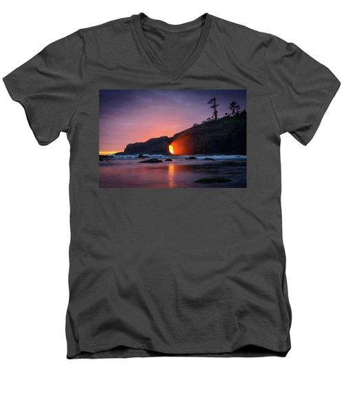Men's V-Neck T-Shirt featuring the photograph Second Beach Light Shaft by Dan Mihai