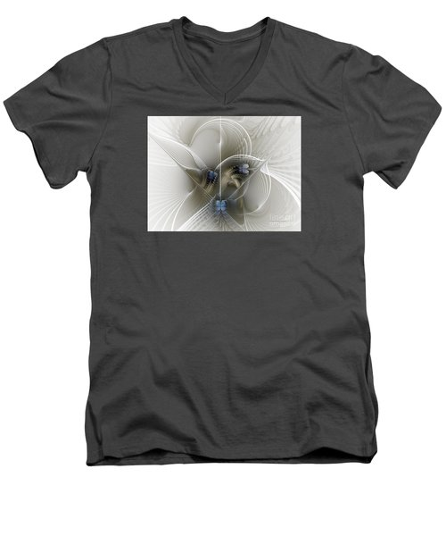 Men's V-Neck T-Shirt featuring the digital art Secret Chambers by Karin Kuhlmann