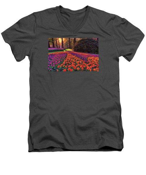 Secret Garden Men's V-Neck T-Shirt by Nadia Sanowar