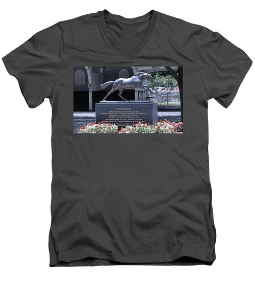 Men's V-Neck T-Shirt featuring the photograph Secretariat by  Newwwman