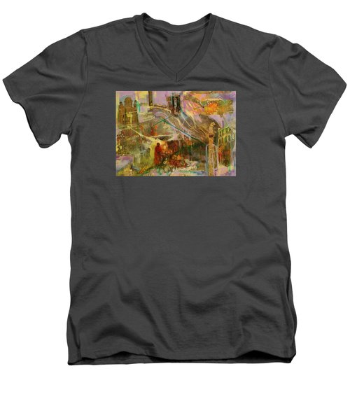 Men's V-Neck T-Shirt featuring the mixed media Secrets by Mary Schiros