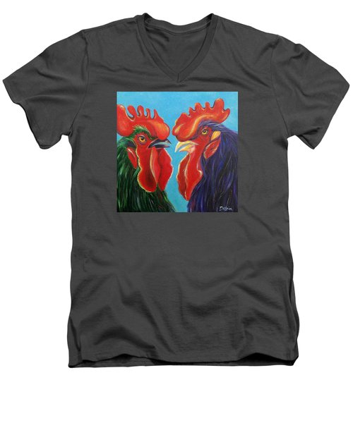 Men's V-Neck T-Shirt featuring the painting Secrets by Susan DeLain