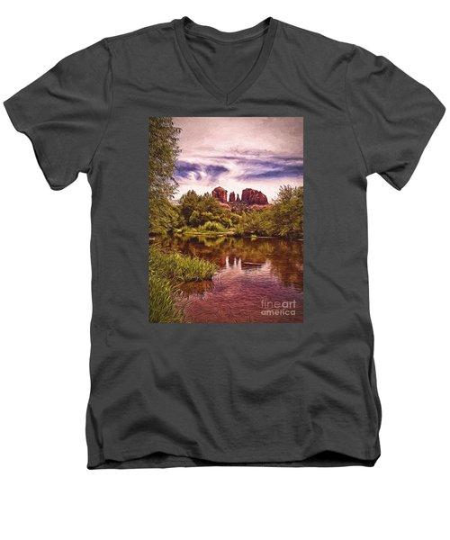 Men's V-Neck T-Shirt featuring the photograph Sedona, Arizona  by Chuck Caramella