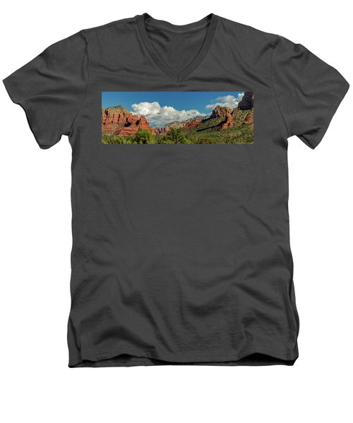 Men's V-Neck T-Shirt featuring the photograph Sedona Panoramic II by Bill Gallagher