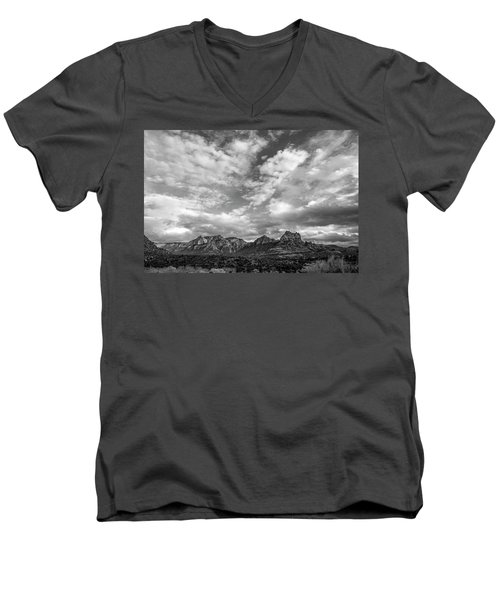 Men's V-Neck T-Shirt featuring the photograph Sedona Red Rock Country Bnw Arizona Landscape 0986 by David Haskett