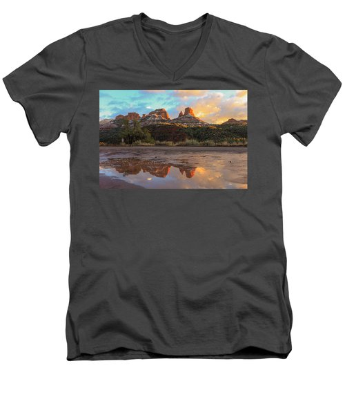 Sedona Reflections Men's V-Neck T-Shirt by Robert Aycock