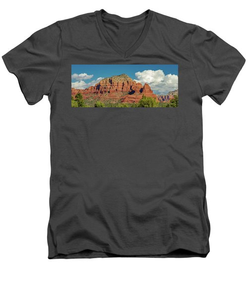 Men's V-Neck T-Shirt featuring the photograph Sedona, Rocks And Clouds by Bill Gallagher