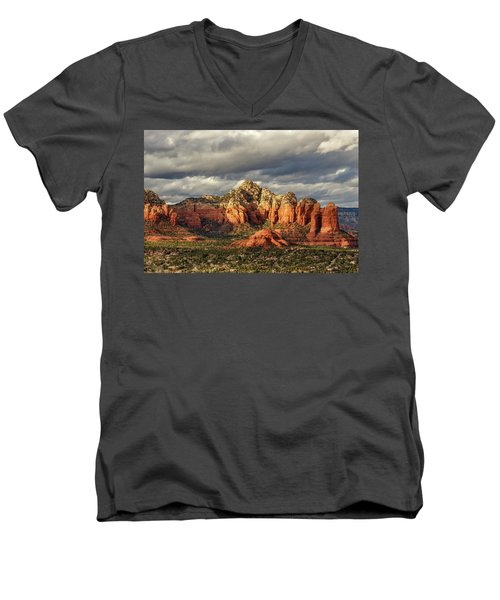 Men's V-Neck T-Shirt featuring the photograph Sedona Skyline by James Eddy