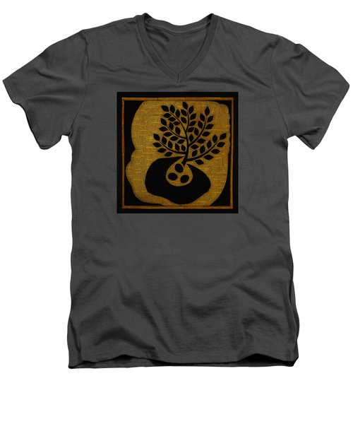 Men's V-Neck T-Shirt featuring the mixed media Seeds Of Life by Gloria Rothrock