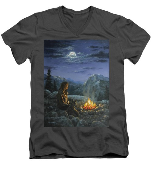 Men's V-Neck T-Shirt featuring the painting Seeking Solace by Kim Lockman