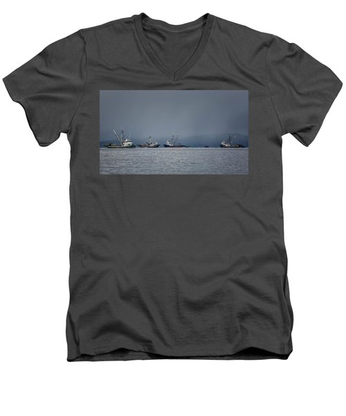 Men's V-Neck T-Shirt featuring the photograph Seiners Off Mistaken Island by Randy Hall