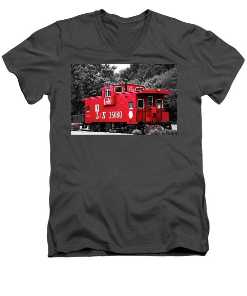 Men's V-Neck T-Shirt featuring the photograph Selective Color Red Caboose by Parker Cunningham