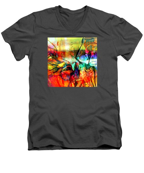 Men's V-Neck T-Shirt featuring the mixed media Self Employed by Fania Simon