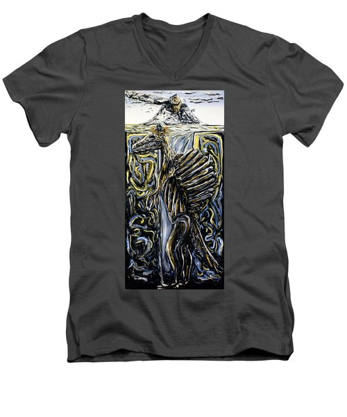 Men's V-Neck T-Shirt featuring the painting Self-portrait- Meme by Ryan Demaree