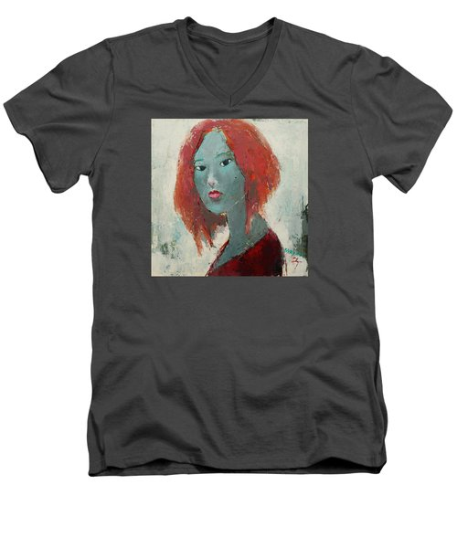 Men's V-Neck T-Shirt featuring the painting Self Portrait 1502 by Becky Kim