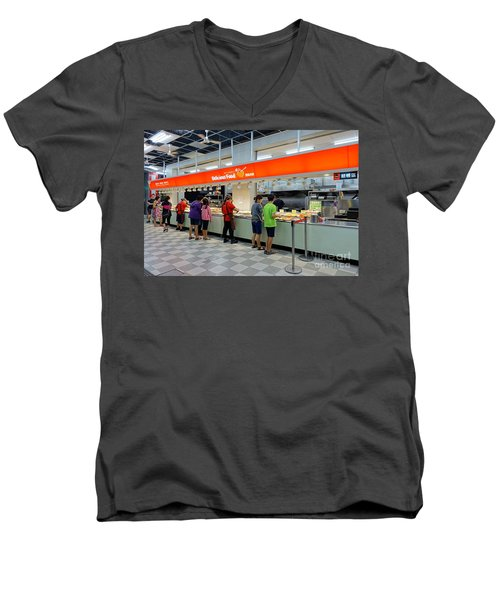 Men's V-Neck T-Shirt featuring the photograph Self-service Restaurant On A Sidewalk In Kaohsiung City by Yali Shi