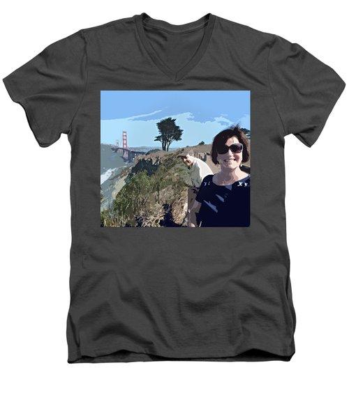 Selfie In San Francisco Men's V-Neck T-Shirt