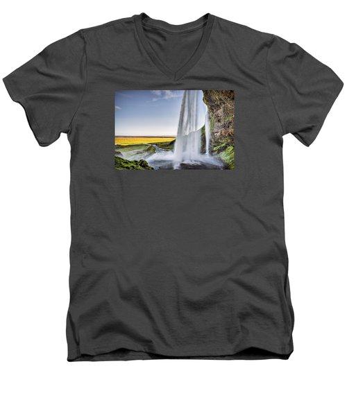 Seljalandsfoss Men's V-Neck T-Shirt by Brad Grove