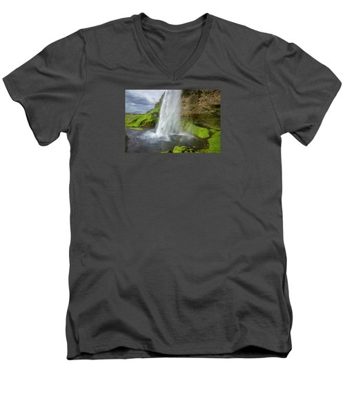Seljalandsfoss With Rainbow, Iceland Men's V-Neck T-Shirt
