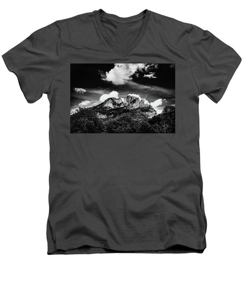Men's V-Neck T-Shirt featuring the photograph Seneca Rocks II by Shane Holsclaw