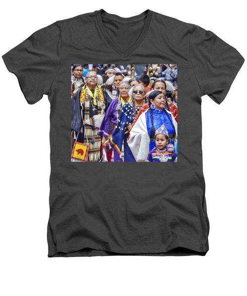 Senior Traditional Women Men's V-Neck T-Shirt by Clarice Lakota