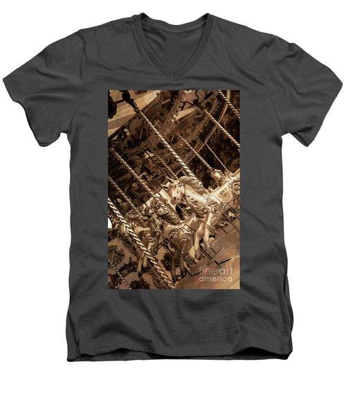 Sepia Carousel Horse Men's V-Neck T-Shirt