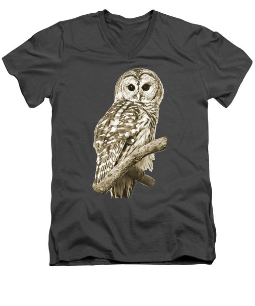 Sepia Owl Men's V-Neck T-Shirt by Christina Rollo